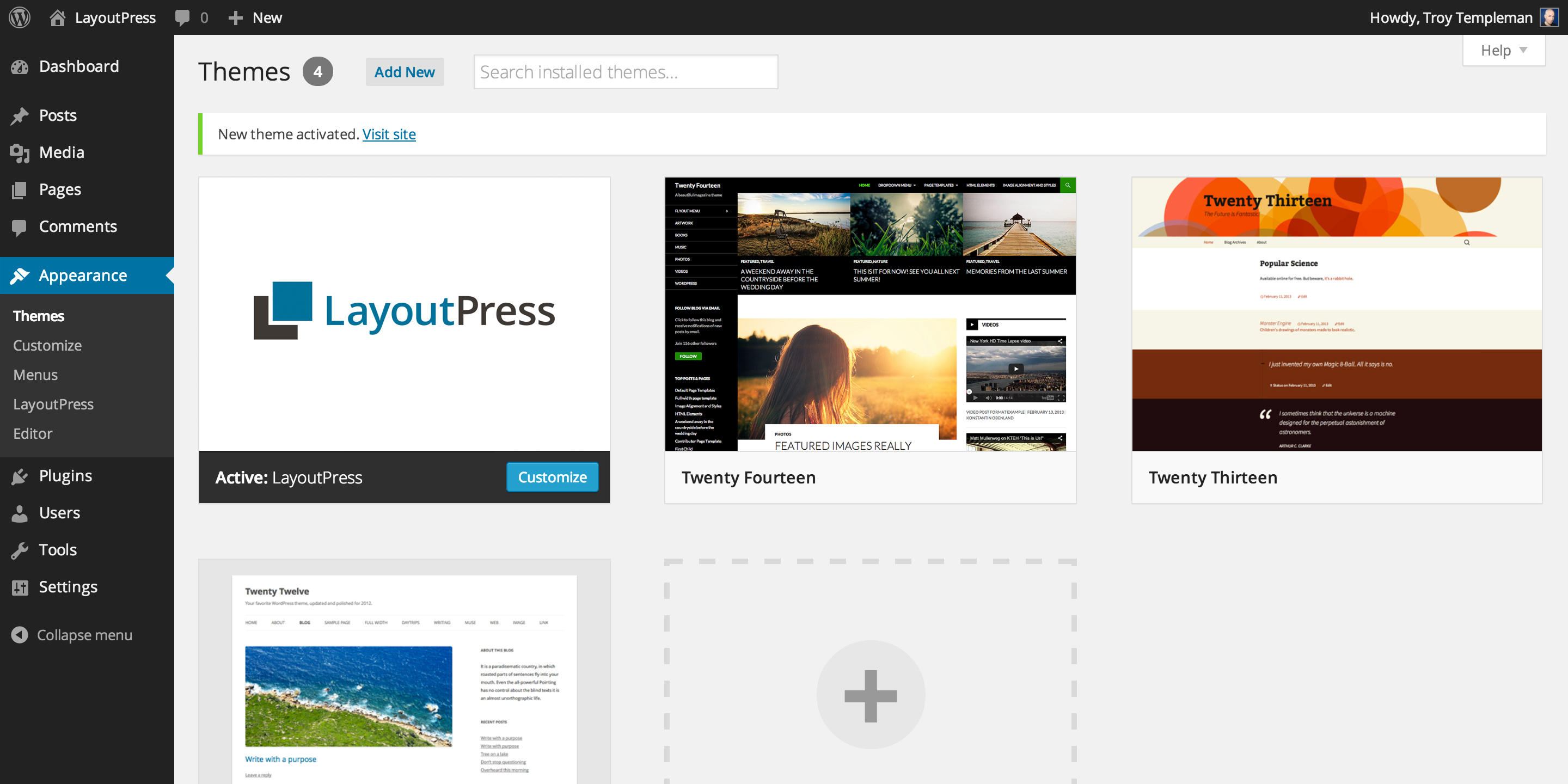 LayoutPress Install Theme